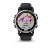Часы Garmin Fenix 5S Plus, Glass, Silverw/BlackBnd
